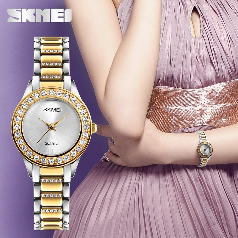 Skmei 1262 золотые женские часы с стразами