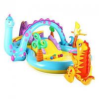 Детский надувной игровой центр Intex 57135 Планета динозавров с горкой, душем