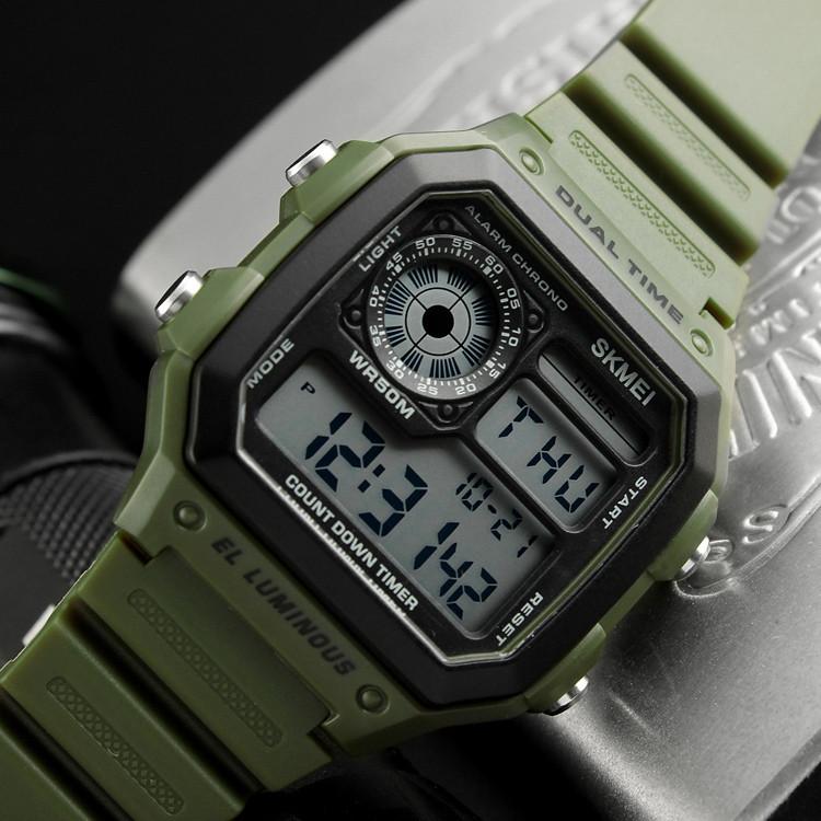 Skmei 1299 зеленые спортивные мужские часы