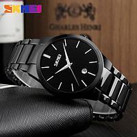 Skmei 9140 черные с черным циферблатом оригинальные мужские часы на браслете