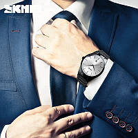 Оригинальные мужские часы Skmei 9140 Черные с Серебристым циферблатом