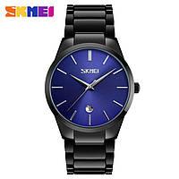 Оригинальные мужские часы Skmei 9140 Черные с Синим циферблатом