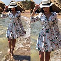 654ce89e6ae098 Нежное женское платье на запах с цветочным принтом ткань