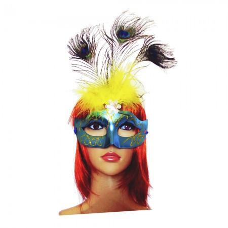 Венецианская маска Дива голубая