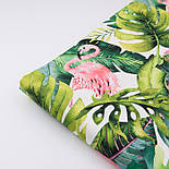 """Хлопок с цифровой печатью """"Фламинго с листьями монстеры"""" на белом № 2281, фото 5"""