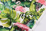 """Хлопок с цифровой печатью """"Фламинго с листьями монстеры"""" на белом № 2281, фото 2"""