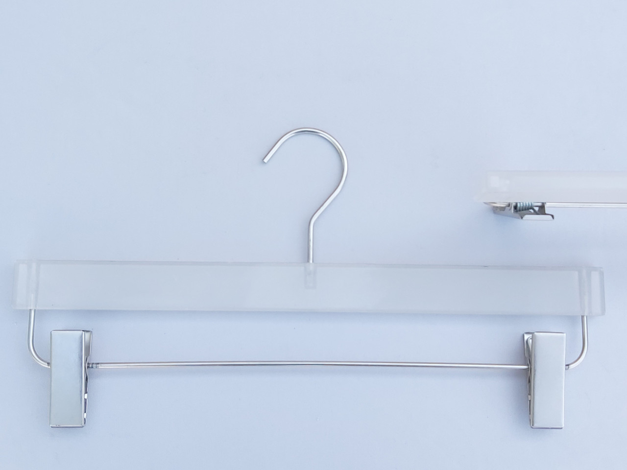 Плечики вешалки комиссионные  б/у матово-прозрачные для брюк и юбок, длина 36 см