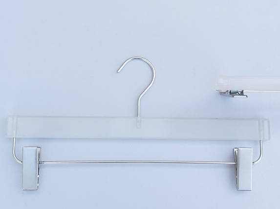 Плечики вешалки комиссионные  б/у матово-прозрачные для брюк и юбок, длина 36 см, фото 2
