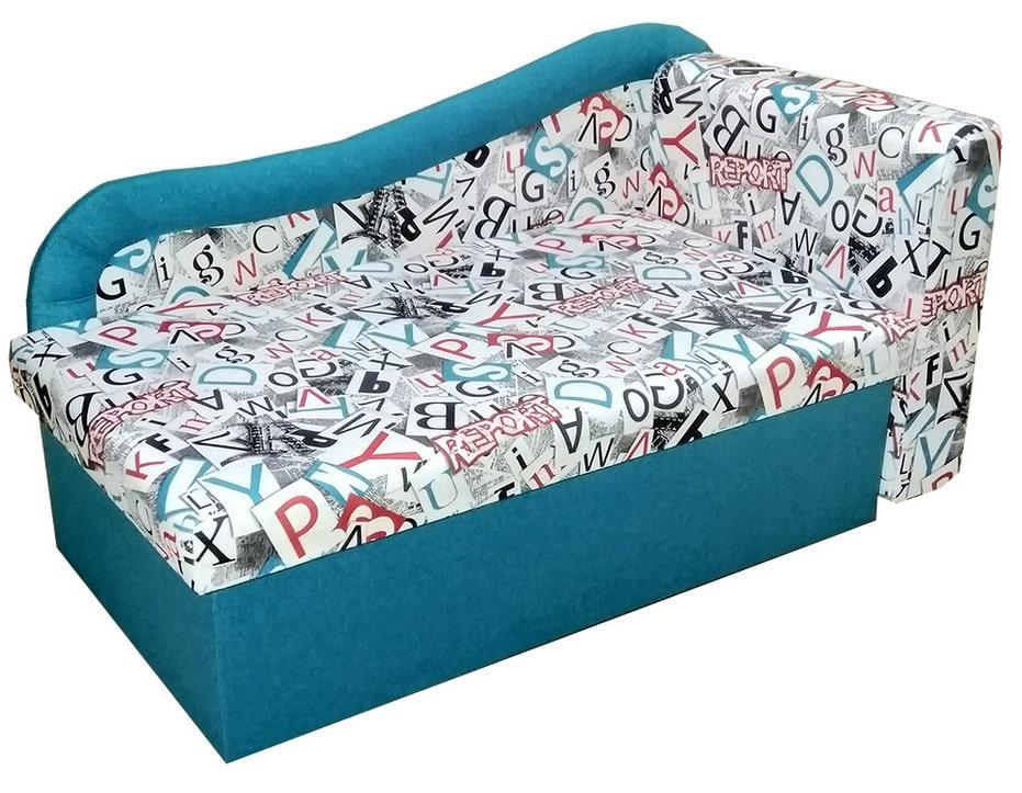 Детский диван Марко ЭКО Принт АВС-3 + синий