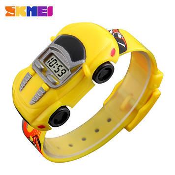 Детские часы машинкой Skmei 1241 желтые