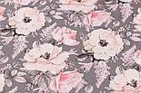 """Хлопок с цифровой печатью """"Анемоны и розы"""" пудровые на сером № 2282, фото 3"""