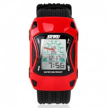 Детские часы машинкой Skmei 0961 красные