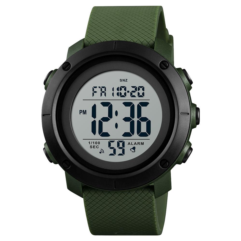 Skmei 1426 зеленые с белым дисплеем спортивные мужские часы