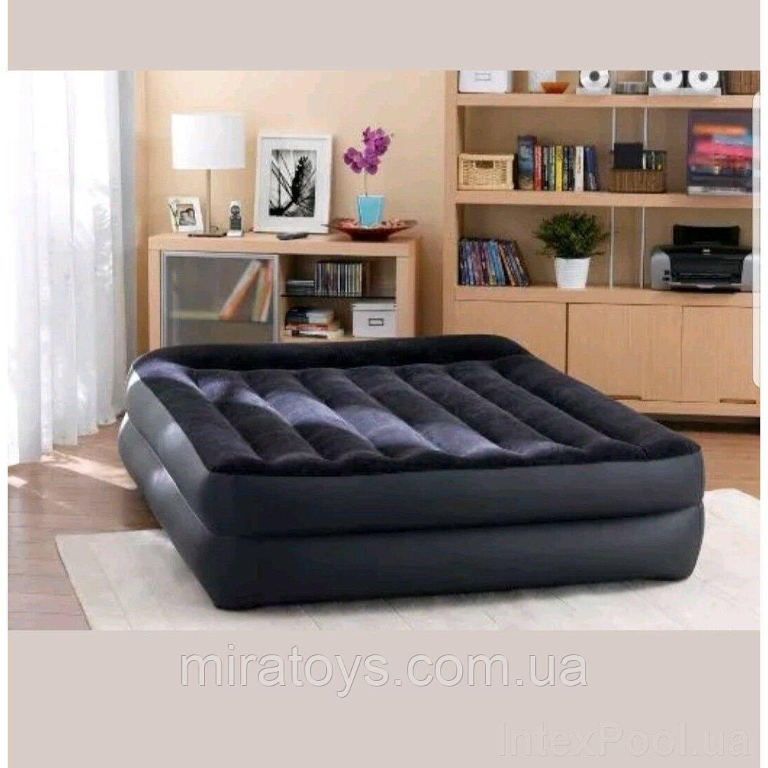 ✅Надувна ліжко Intex 64124, 152 х 203 х 42 , вбудований електронасос. Полутораместная