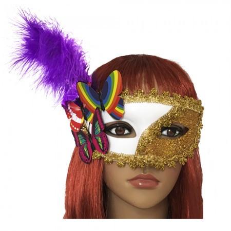Венецианская маска Загадка белая с золотом