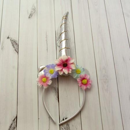 Рог Единорога серебро с цветами