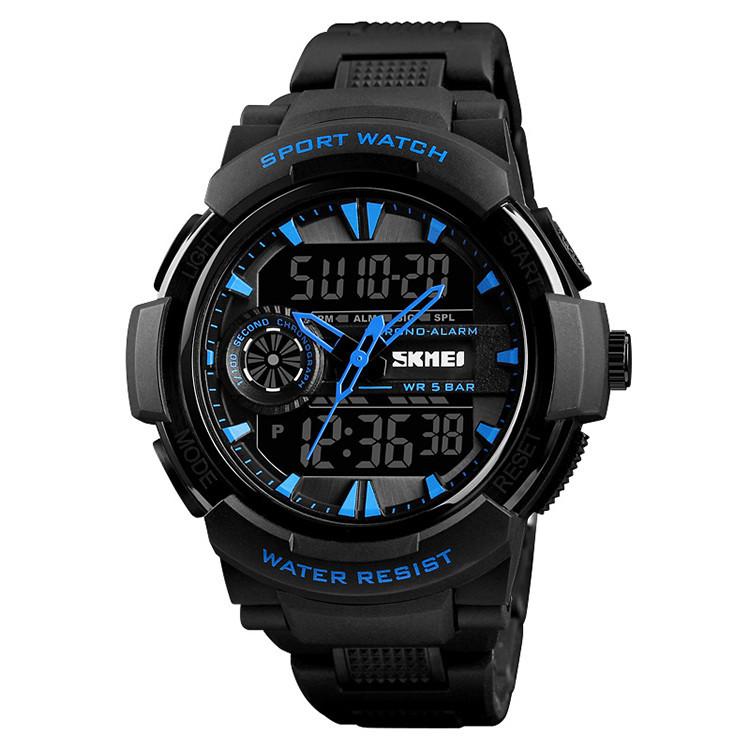 Skmei 1320 PROTECT черные с синим мужские спортивные часы