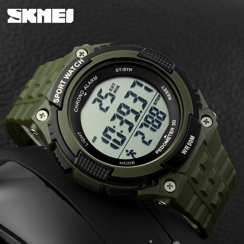 Skmei 1112 Fitness зеленые спортивные мужские часы с шагомером