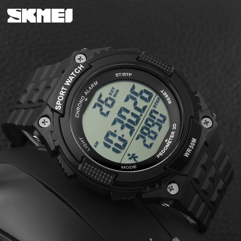 Спортивные мужские часы Skmei Fitness 1112 Черные с шагомером