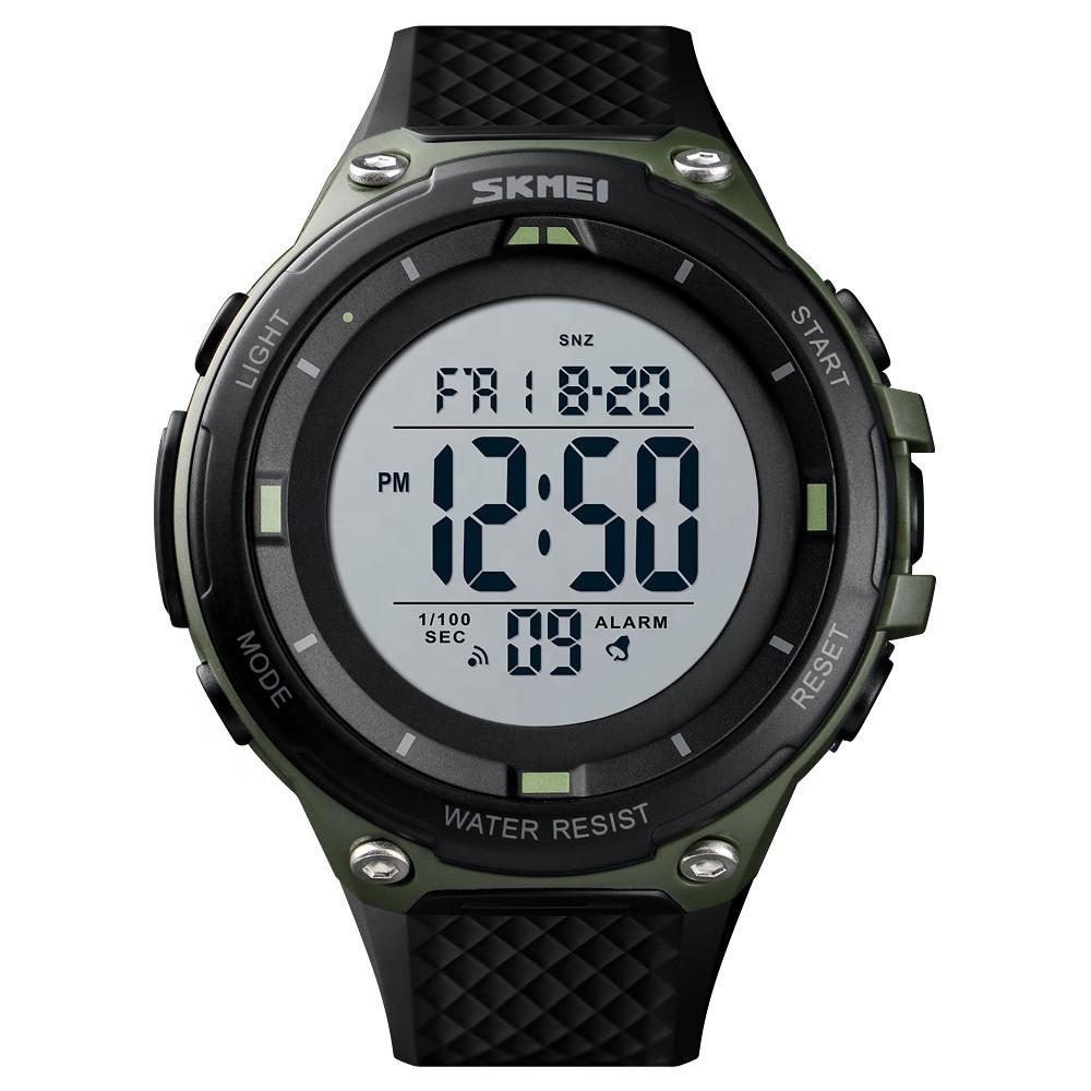 Skmei 1441 черные с зеленым спортивные мужские часы