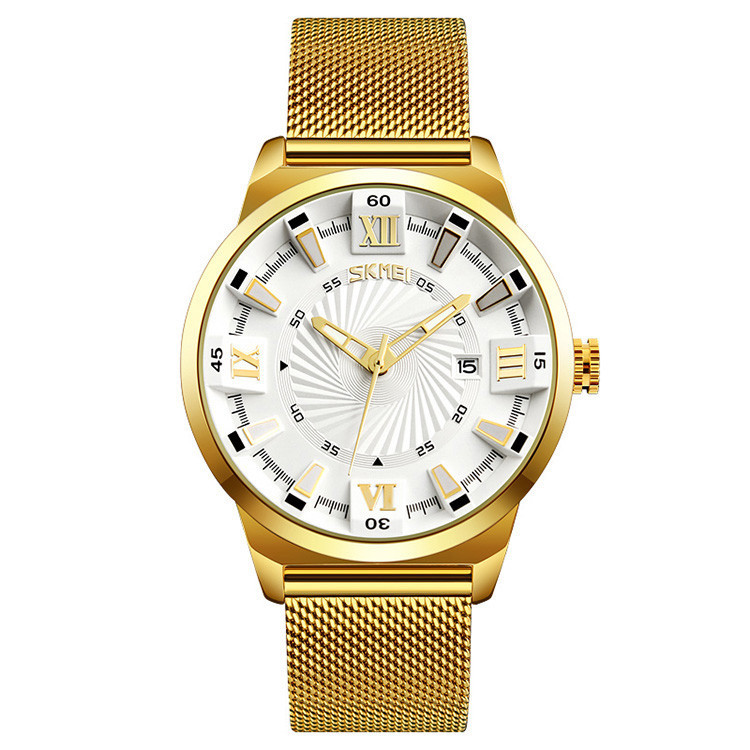 Skmei 9166 золотые с белым циферблатом классические часы