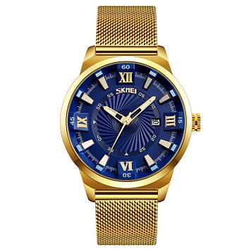 Классические часы Skmei 9166 золотые с синим циферблатом