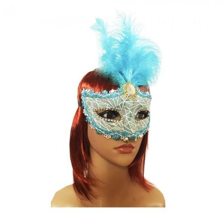 Венецианская маска Патриция 20см голубая с серебром