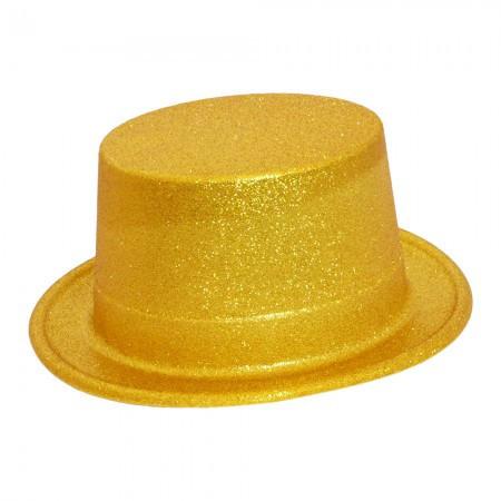 Шляпа Цилиндр блестящая золото