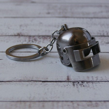 Брелок МТО Объемный шлем PUBG серебро №27