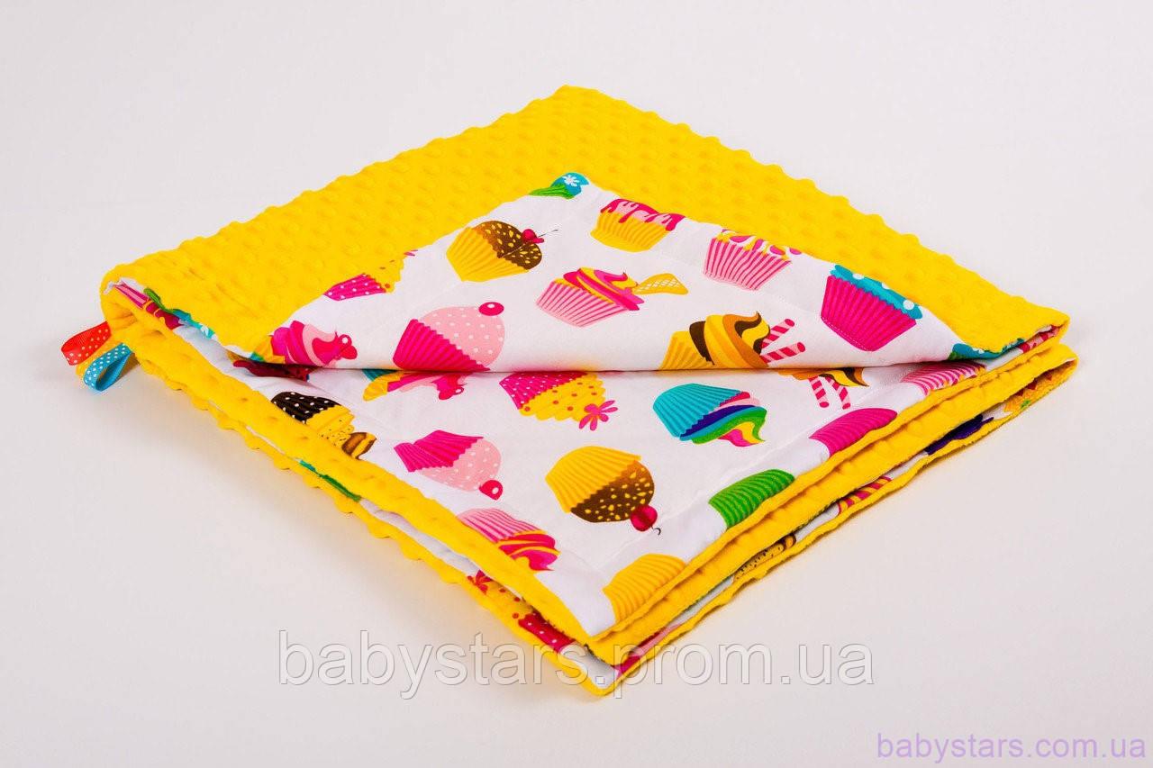 Плюшевый плед 78х85см, Разноцветные сладости