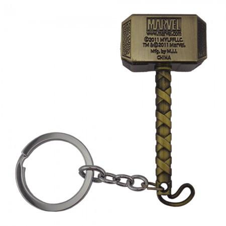Брелок металлический объемный Молот Тора бронза
