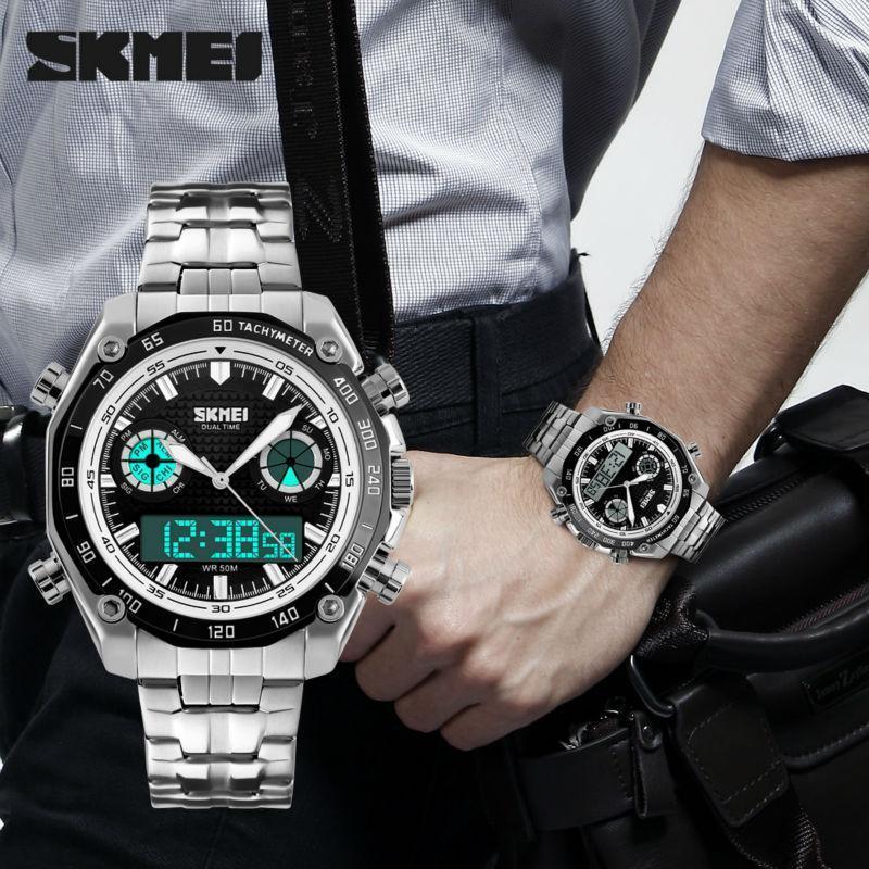Skmei 1204 DIRECT черные с белым кантом наручные мужские часы на браслете