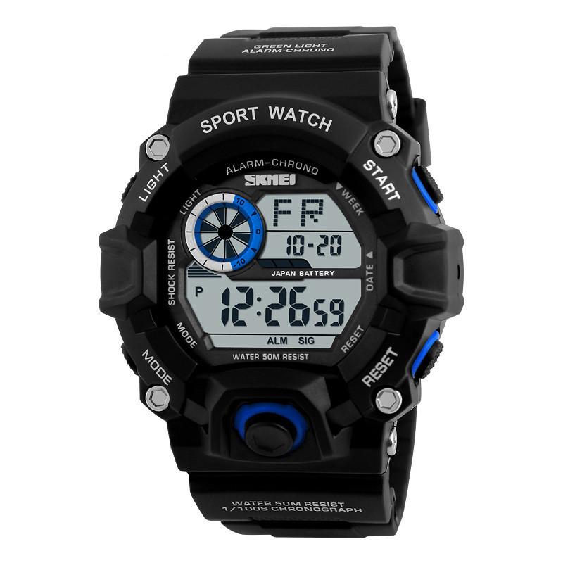 Skmei 1019 черные с чиним спортивные мужские часы