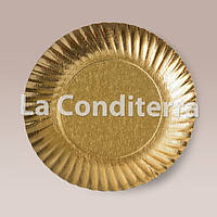 Тарелки для тортов Siluett (d=24 см, золотые, ламинированные), фото 1