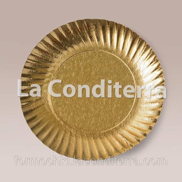 Тарелки для тортов Siluett (d=20 см, золотые, ламинированные), фото 1