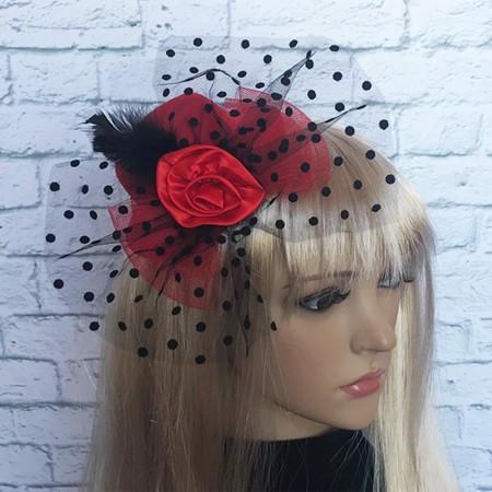 Шляпка Гламур маленькая с розой красная