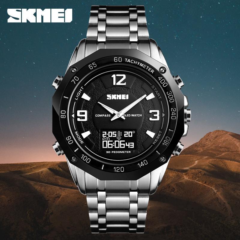 Skmei 1464 Kompass Pro серебристые мужские часы с компасом и термометром