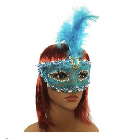 Венецианская маска Патриция 20см голубая