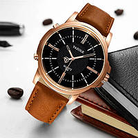 Мужские часы YAZOLE 358 (Чёрный циферблат со светло-коричневым ремешком)