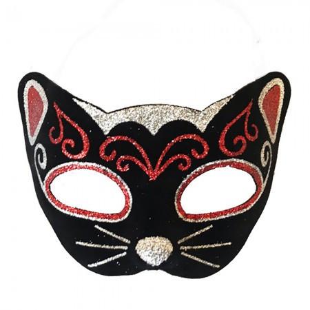Венецианская маска Кошка фетр черная с красным