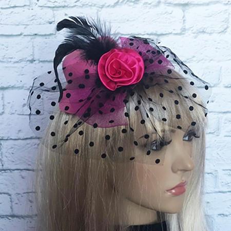Шляпка Гламур маленькая с розой розовая