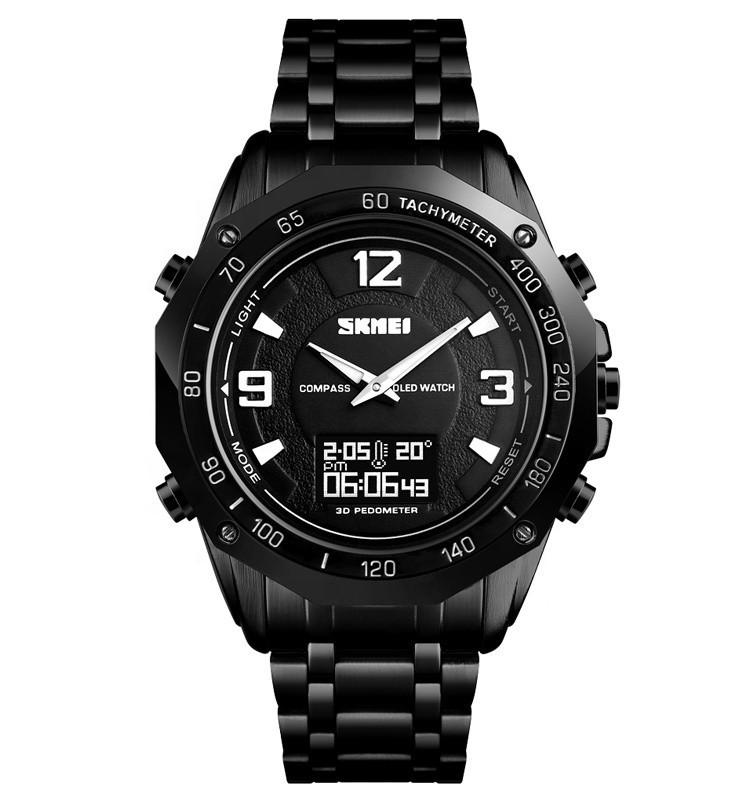 Skmei1464  Kompass Pro черные мужские часы с компасом и термометром