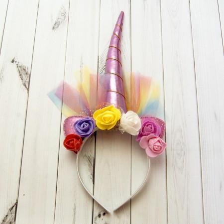 Рог Единорога розовый с фатином