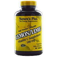 Витамин С (Vitamin C) со вкусом лимона Nature's Plus  500 мг 90  жевательных таблеток