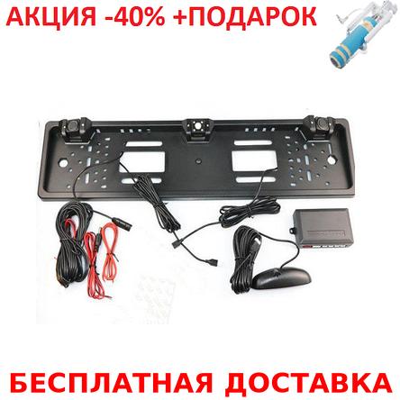 Универсальная рамка для номера с двумя датчиками парктроника Silver Original size+ монопод, фото 2
