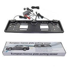 Универсальная рамка для номера с двумя датчиками парктроника Silver Original size+ монопод, фото 3