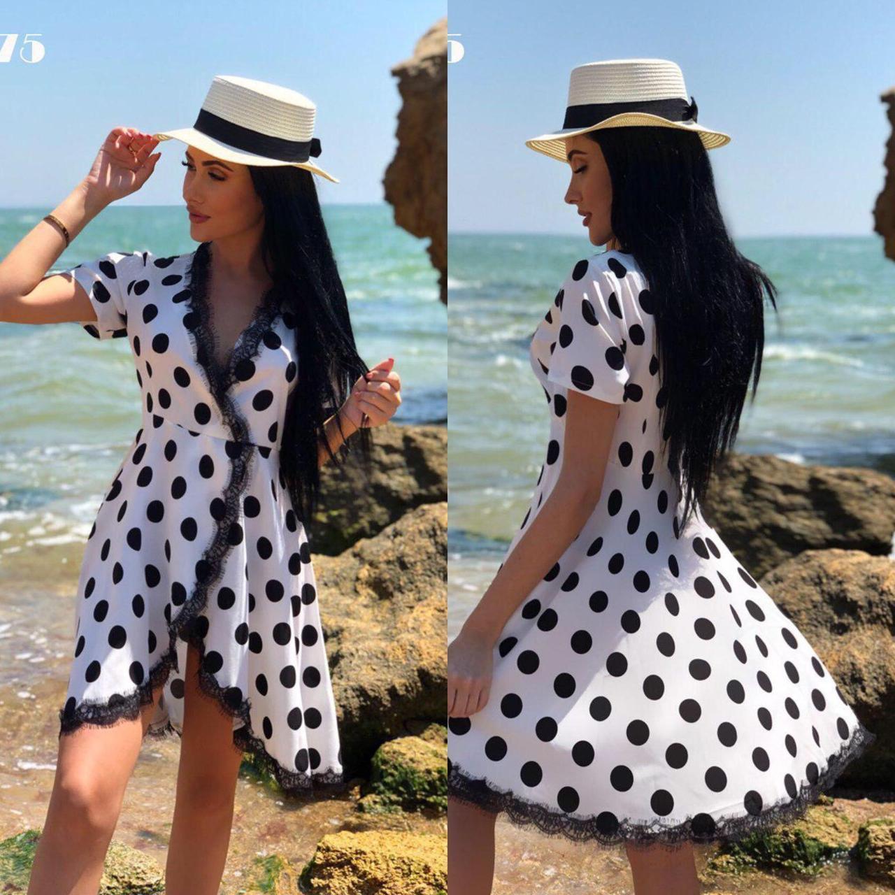 """Летнее женское платье в горошек на запах с кружевом ткань """"Софт""""  42 размер норма"""