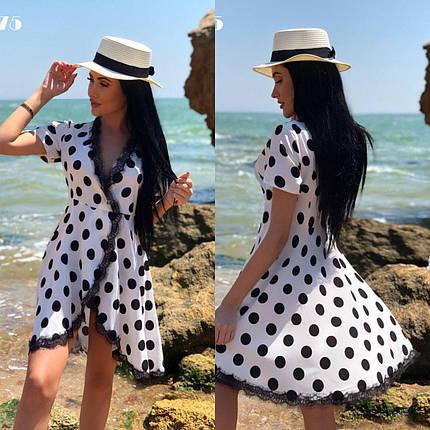 """Летнее женское платье в горошек на запах с кружевом ткань """"Софт""""  42 размер норма, фото 2"""