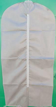 Чехол для хранения и упаковки одежды на молнии флизелиновый серого цвета. Размер 60 см*140 см., фото 2