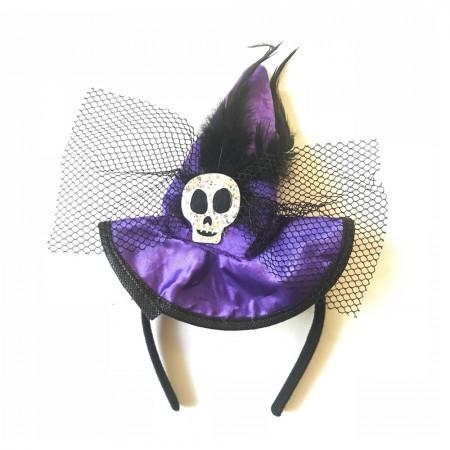 Шляпка на ободке Ведьмочки с Черепом фиолетовая